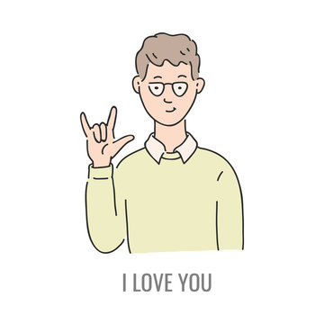 Vector young man showing i love you deaf-mute sign language symbol. Smiling sketch male character and hand communication sign by his hand. Different social communication, basic word
