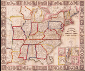 1848, Phelps National Map of the United States, Pocket Map