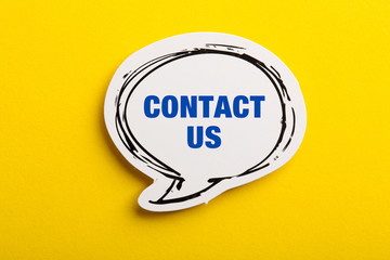 Contact Speech Bubble Isolated On Yellow