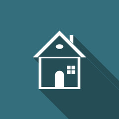 House icon isolated with long shadow. Home symbol. Flat design. Vector Illustration