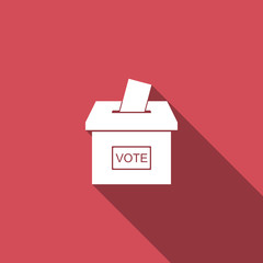 Vote box or ballot box with envelope icon isolated with long shadow. Flat design. Vector Illustration