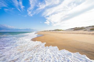 Ocean beach waves  and sand dunes