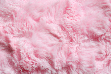 Pink fur background. Surface wool texture. Copy space for your text Wall mural