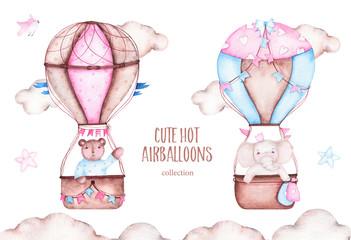 Watercolor cute hot air balloons with bear elephant