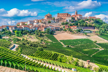 View of La Morra in the Province of Cuneo, Piedmont, Italy