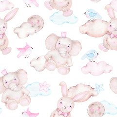 Watercolor seamless pattern with cute elephant bunny