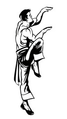 Black and white silhouette of karate fighter on white background. Martial arts illustration.