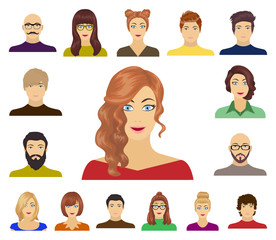 Avatar and face cartoon icons in set collection for design. A person's appearance vector symbol stock web illustration.