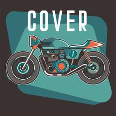 motorcycle cafe race tshirt print illustration - Vector
