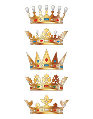 Set of golden crowns for king isolated. Vector illustration