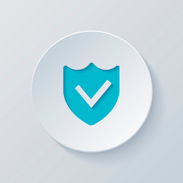 protection success. simple icon. Cut circle with gray and blue l