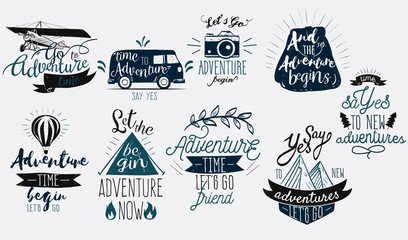 Logo sign with different texts about adventures