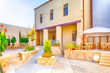Classic Standard Cretan Yard At Sunny Day in Chania,  Greece.