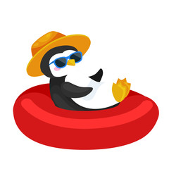 Cartoon penguin in hat swimming in rubber ring