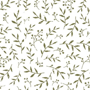 Floral Seamless pattern texture with black berries sprigs and leaves.