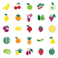 Frui color icons set on white background for graphic and web design, Modern simple vector sign. Internet concept. Trendy symbol for website design web button or mobile app
