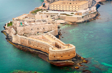 Aerial view of Maniace fortress in Ortigia, Syracuse Sicily Fototapete