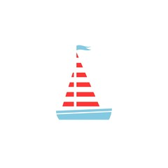 Flat red and blue silhouette of yacht with sails and flag. Isolated on white background.