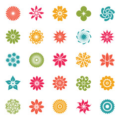 Flower color icons set on white background for graphic and web design, Modern simple vector sign. Internet concept. Trendy symbol for website design web button or mobile app
