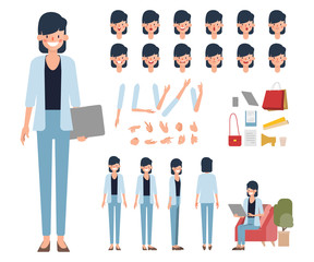 Businesswoman character creation design. Animation character office woman employee.  Face Emotions, Expressions. Cartoon Illustration