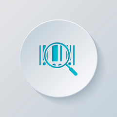 Bar code and magnifying glass. Simple icon. Cut circle with gray