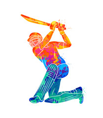 Abstract batsman playing cricket from splash of watercolors