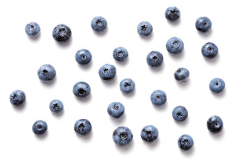 Wall Mural - fresh ripe blueberry fruits isolated on white background