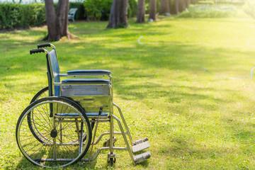 Empty wheelchair in the garden.thailand.