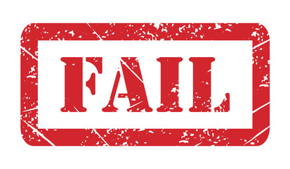 Vector illustration isolated of the word Fail in red ink stamp