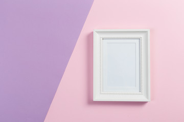 white frame on pink and violet background