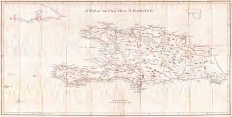 Old Map of Hispaniola or Santo Domingo, West Indies, Haiti, Dominican Republic 1800, Stockdale