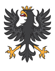Heraldic black eagle with crown. Vector illustration