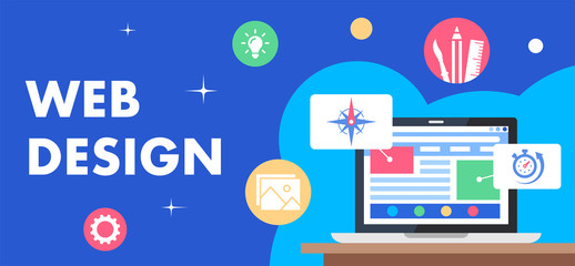 Colorful illustration of web design as a marketing tool
