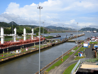 Panama City / Panama / 11. 09. 2018: The second lock of the Panama canal from the Pacific ocean.