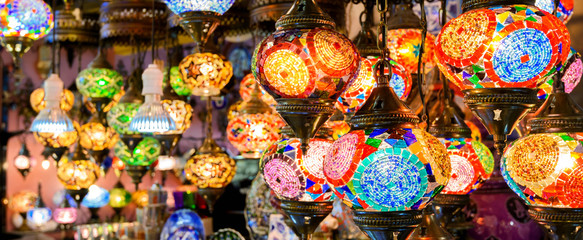 Stained glass lamps in Grand Bazaar, Istanbul, Turkey Wall mural
