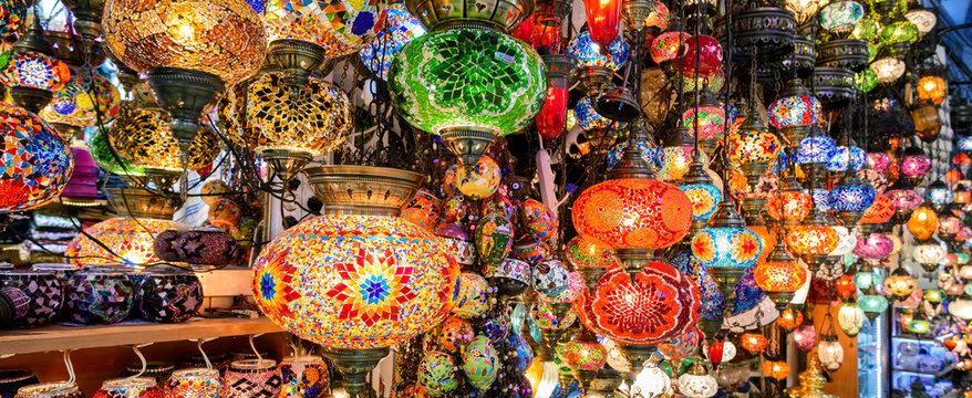 Beautiful colorful lamps in Grand Bazaar, Istanbul, Turkey