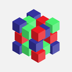 abstract image with cubes, colorful cubes, 3d composition