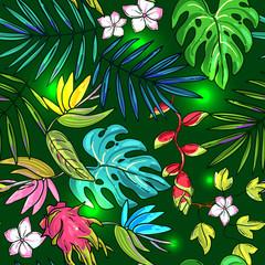 Hand drawn beautiful seamless pattern world tropics.