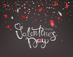 Confetti falling down. Happy Valentines Day greeting card. Vector illustration