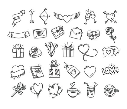 Happy Valentines Day doodle style elements. Vector Illustration