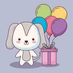 cute dog happy birthday card with balloons helium and gift