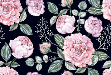 Seamless pattern pink rose flowers vintage on dark blue isolated  background. Watercolor illustration hand drawn.