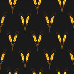 Seamless texture spikelets of wheat, printing on fabric, wallpap