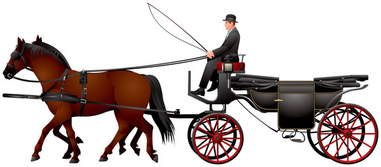 Fiacre carriage, horse drawn four-wheeled carriage for hire, Landau, Fiaker in Vienna realistic vector illustration