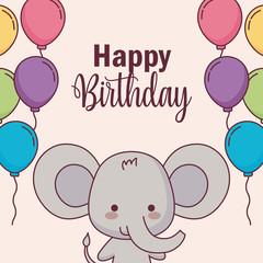 cute elephant happy birthday card with balloons helium