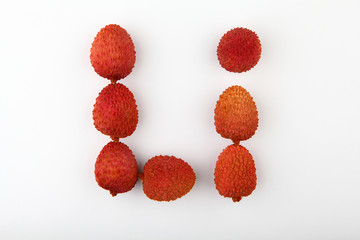 lychee fruit nobody white background