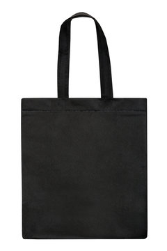 Black fabric bag isolated on white background. Black tote bag
