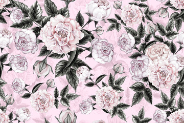 Seamless pattern pink rose flowers vintage on pink pastel color abstract  background. Watercolor illustration hand drawn.