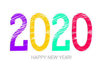 2020 year colorful symbol. Happy new year. Banner, card. Purple, yellow, green and red. Greeting card, poster. Chalk or pencil hand drawn. Doodle
