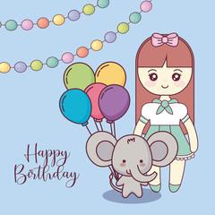 cute elephant with little girl happy birthday card